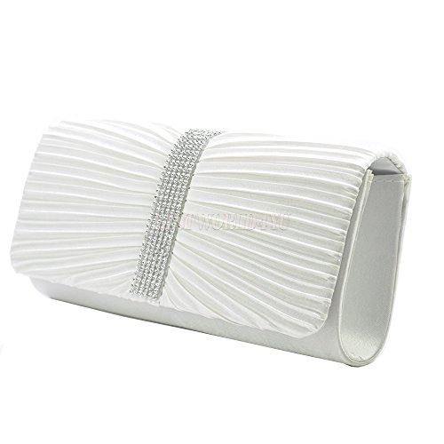 Womens Ivory Ladies Clutch Bag TM Bridal Satin Wocharm Handbag Pleated Prom Diamante Wedding 5qS7wxBnHx
