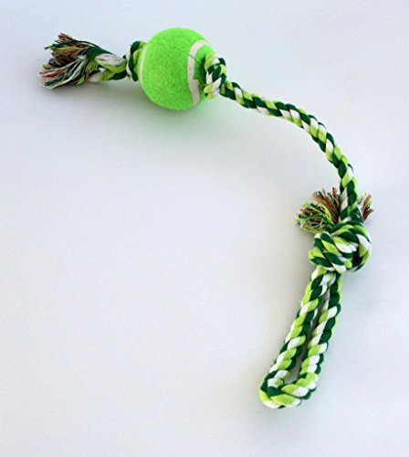 Cotton braided pet toy rope fetch with tennis ball, Ultra-strong, durable and fun for pet's playing and dental health, good for the training too, bite-resistant, easy to clean. Size: ball (Ultra Fun Ball)