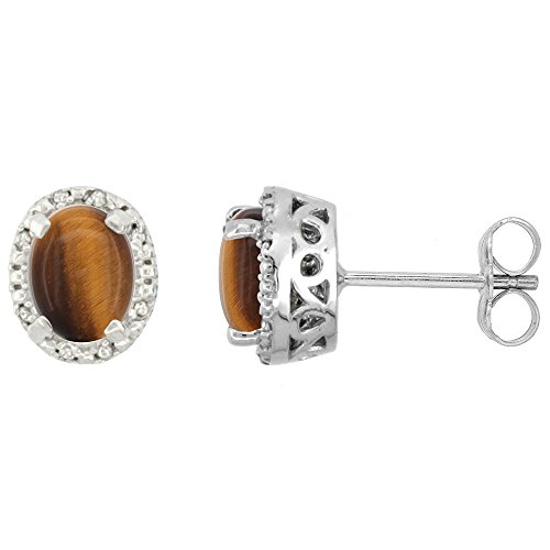 10K White Gold Diamond Halo Natural Tiger Eye Stud Earrings Oval 7x5 mm