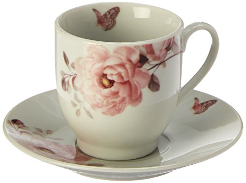 Lorenzo Import Floral and Butterfly Design Espresso Set (Service for 6), Pink