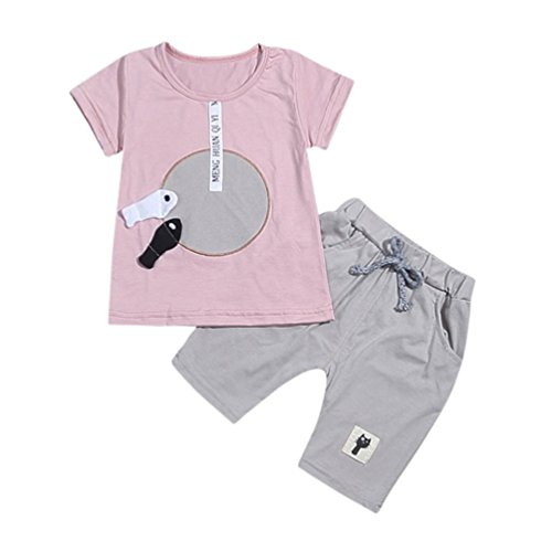 Price comparison product image Rucan 2Pcs Toddler Baby Girls Boys Cartoon 3D Fish Tops T Shirt + Pants Outfits Set (C, 0-6 Months)