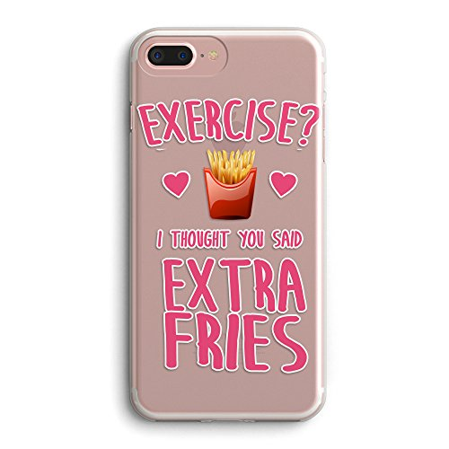 iPhone 5s Case Funny,iPhone SE Case Girls,Sassy Life Attitude Cute Quotes Hipster Trendy Exercise? I Thought You Said Extra Fries French Fries Clear Case for iPhone 5/iPhone 5s