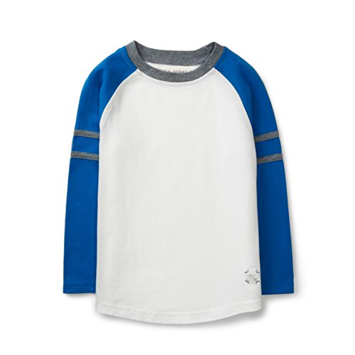 Hope & Henry Boys' Colorblock (Blue / White) Raglad Tee Made with Organic Cotton Size 12-18 (Blue Organic Baby T-shirt)