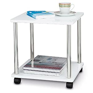 Side Table Serving Table Multifunctional On Wheels White Steel DMD 40 X 40  X 40 Cm