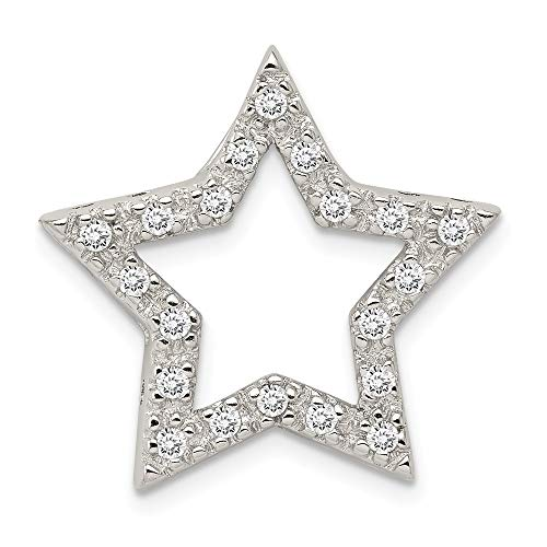 - 925 Sterling Silver Cubic Zirconia Cz Star Pendant Charm Necklace Slide Chain Celestial Fine Jewelry Gifts For Women For Her