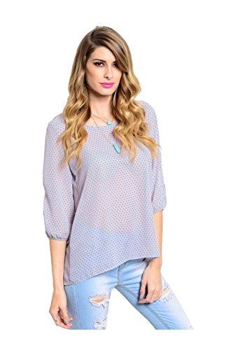 2LUV Women's 3/4 Sleeve Polka Dot Blouse W/ Shoulder Cutout Mint & Pink M (TKT3544)