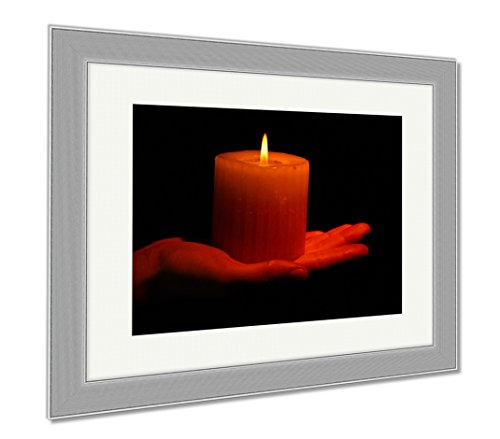Ashley Framed Prints Burning Candle In Hand Isolated On Black, Wall Art Home Decoration, Color, 34x40 (frame size), Silver Frame, AG6514150 by Ashley Framed Prints