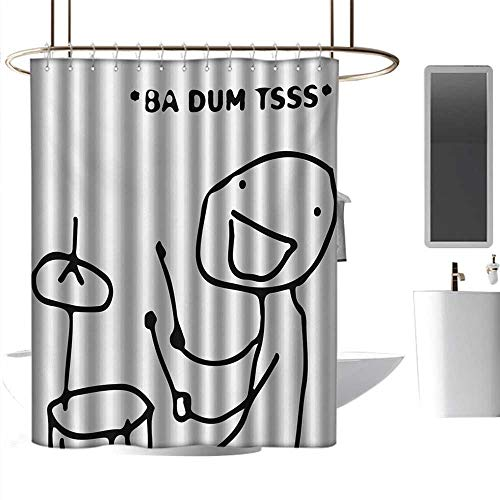 - coolteey Funny Shower Curtains for Men Marvel Humor,Musician Stickman Plays Drums Happy Instrument Artisan Indie Style Figure Art,Black and White,W72 x L96,Shower Curtain for Shower stall