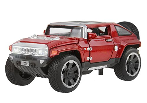 Metal Die Cast Toy Pull Back Hummer HX Off-Road Vehicle Truck SUV with Head Light Sound 1:32 Scale Model Car Collection Brithday for Boy Girl Kids red
