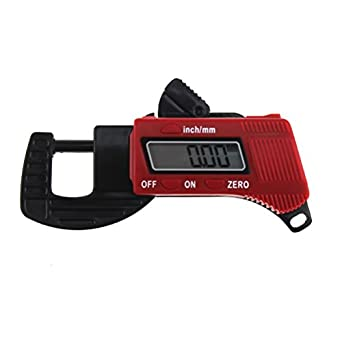 Ueetek Digital Thickness Gauge Micrometer Calliper Red Gauge Range 0 to 12.7 mm
