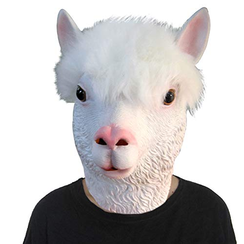 Lubber Halloween Costume Alpaca Latex Animal Head Mask White