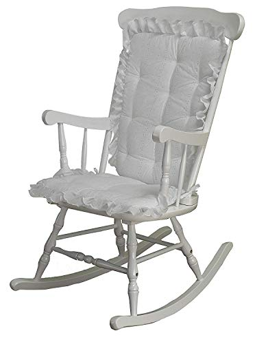 Rocking Chair Cushion Pad Set, White Eyelet, Machine Washable, Seat Cover or Replacement Pads for Rocker or Glider