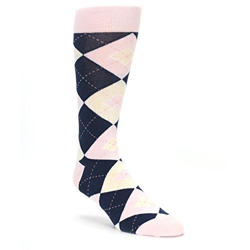 Statement Sockwear Men's Argyle Groomsmen Wedding Socks (Petal Pink -