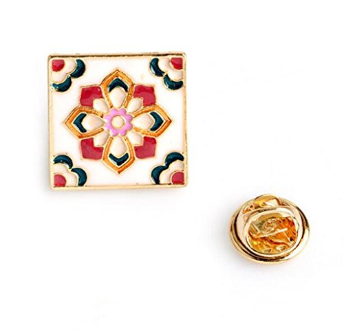 (Wanrane Novelty Women's Accessory Jewellery Badges Exquisite Vintage Brooch Square Brooch Button Badge(Colorful))