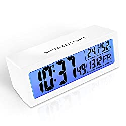 Matone Digital Alarm Clock with Touch-Activated Snooze, Adjustable Alarm Volume, Humidity & Temperature Detect, Night Light, 5.3'' LCD Screen, Simple Battery Operated Digital Clock for Bedrooms