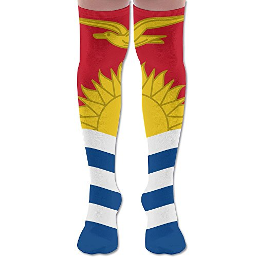 Flag Of Kiribati Polyester Cotton Over Knee Leg High Socks Trendy Unisex Thigh Stockings Cosplay Boot Long Tube Socks For Sports Gym Yoga Hiking Cycling Running Football