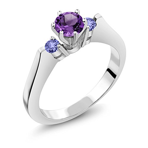 Gem Stone King 0.61 Ct Round Purple Amethyst Blue Tanzanite 925 Sterling Silver 3-Stone Ring