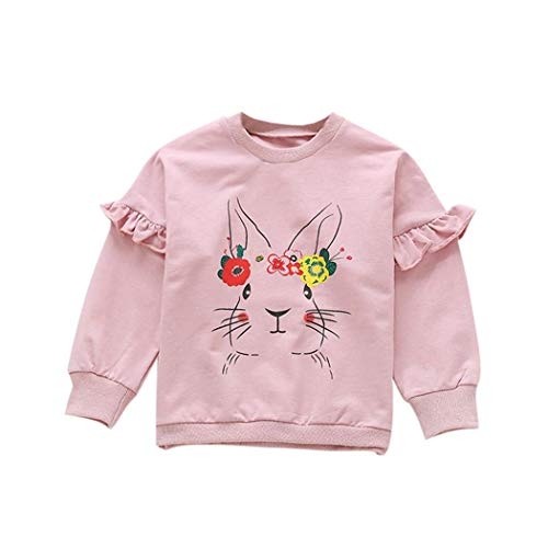 AIKSSOO Girls Casual Sweatshirt Kids Bunny Flower Printed Ruffle Pullover Outfit Size 110(3-4T) (Pink Rabbit)