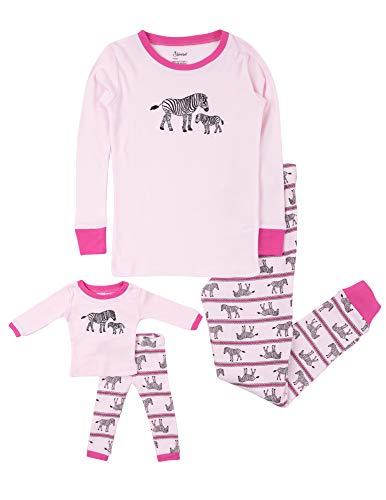 Leveret Kids Pajamas Matching Doll & Girls Pajamas 100% Cotton Pjs Set (Zebra,Size 8 Years)