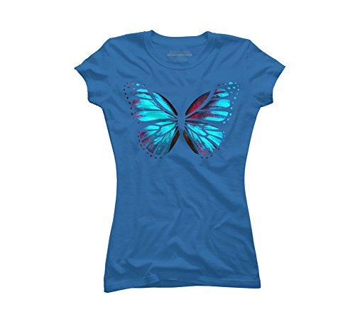 Blue Red Butterfly Women's Large Royal Blue Graphic T Shirt - Design By Humans