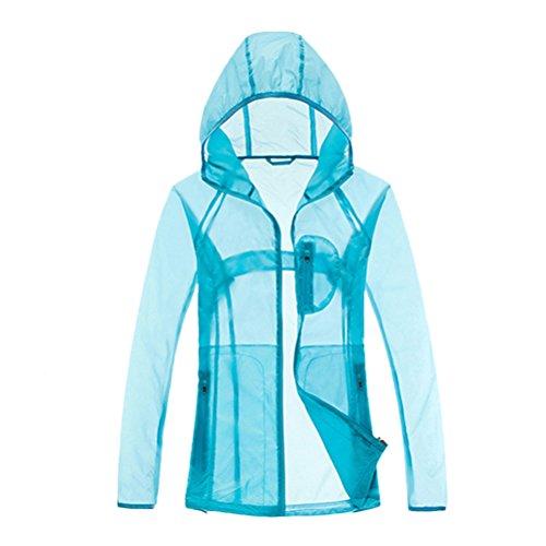 Zhhlinyuan Outdoor Mujeres Transparent Thin Waterproof Windbreaker Sports Jacket Anti-UV Skin Coat Blue