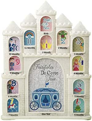 Mozlly White Fairy Tales Do Come True Castle Baby First Year Collage Photo Frame Glitter Finish 12 x 9.5 inch Nursery Room Decor for Little Prince & Princess 1 Month-1 Year Pictures
