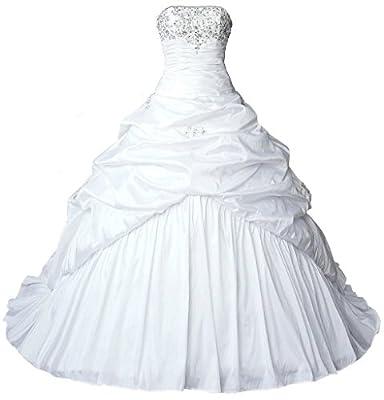 Vantexi Women's Strapless Taffeta Wedding Dress Bridal Gown