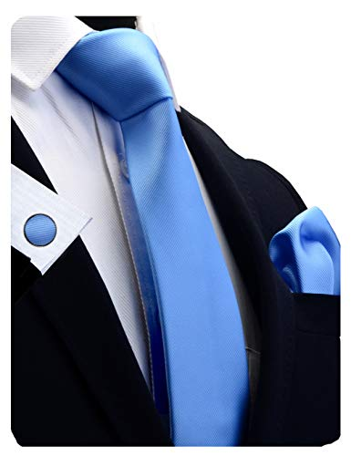 (GUSLESON Brand Mens Silk Solid Light Blue Formal Tie Neckties and Pocket Square Cufflinks Sets (0789-09))
