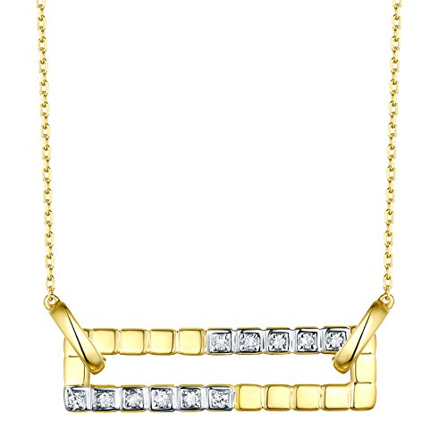 Prism Jewel 0.10Ct G-H/SI1 Round Natural Diamond Open Rectangle Shape Chain Necklace, 14k Yellow Gold ()