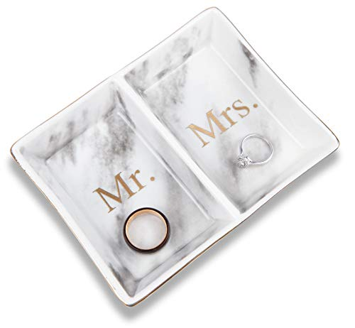 Aller Home & Kitchen Mr. & Mrs. Ring Dish Jewelry Plate (Marble Design) - His and Hers Two Section Trinket Tray for Wedding and Engagement Rings, Earrings, Bracelets, Necklaces, Watches, Couples Gifts from Aller Home & Kitchen