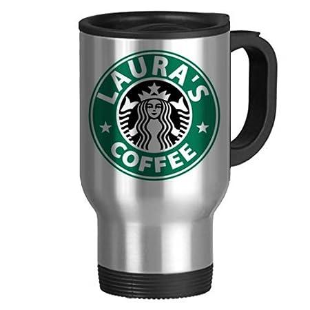 Starbucks Inspired Personalised Mug Silver Travel Mug Amazonco