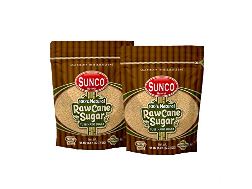 Sunco Natural Raw Sugar, Natural Raw Cane Sugar, Turbinado Sugar, Demerara Sugar 6 Lb Bulk (Pack of 2 (12 (Natural Turbinado Sugar)