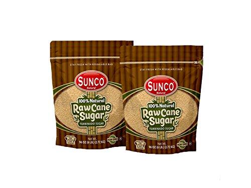 (Sunco Natural Raw Sugar, Natural Raw Cane Sugar, Turbinado Sugar, Demerara Sugar Bulk, Pack of 2)