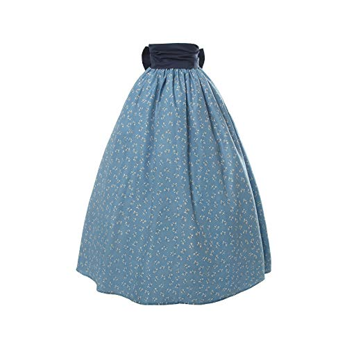 Women Colonial Pioneer Skirt Girls Peasant Prairie Costume Civil War Trek Floral Skirt ()