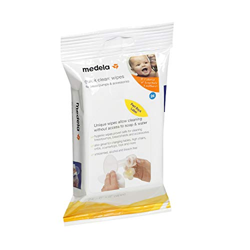 Medela, Quick Clean Breast Pump and Accessory Wipes, Convenient Portable Cleaning, Hygienic Wipes Safe for Tables, Chairs, Cribs, and Countertops, 24 Wipes Per Resealable Pack