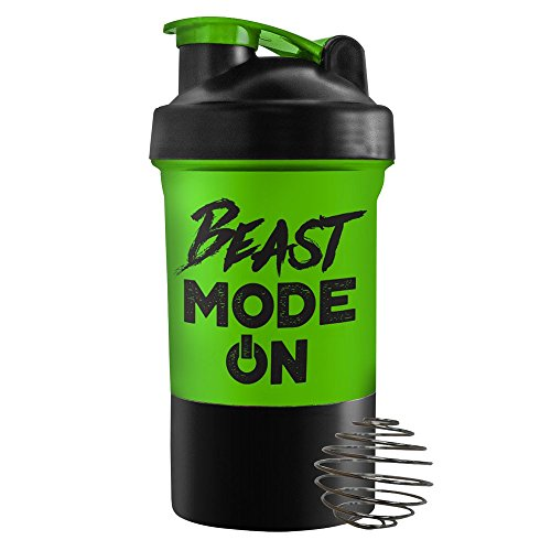 Green Blender Cup - Beast Mode ON - 2 compartments - PowerFoods
