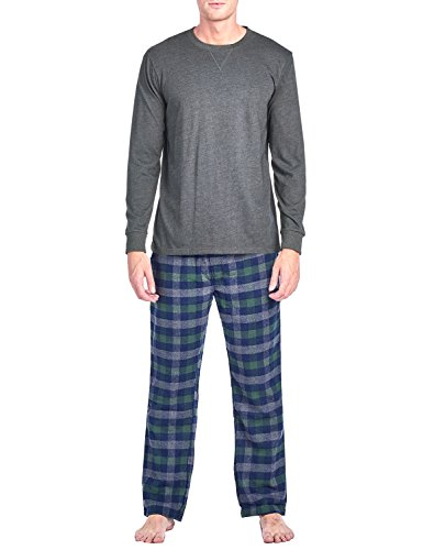 Ashford & Brooks Mens Flannel Long-Sleeve Top and Flannel Bottom Pajama Set - Charcoal Blue - (Blue Charcoal)