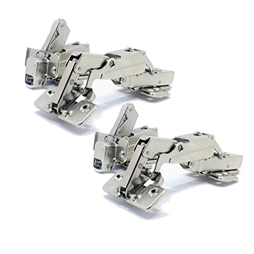 T&B 175 Degree Hinges Face Frame Cabinet Hinges Hydraulic Adjustable Mounting Concealed Hinges Soft Closing Stainless Steel Buffer Dampers for Wardrobe,2 Pair (Half Overlay)