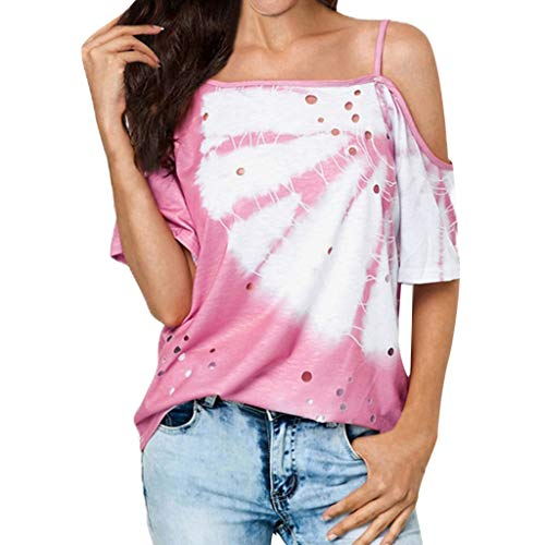 NCCIYAZ Womens T-Shirt Tops Cold Shoulder Strap Hollow Hole Tie-Dyeing Printed Ladies Beach Daily Blouse(8,Pink) (Iris Perfume Bottle)