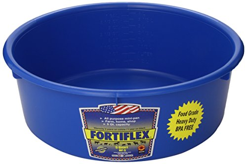 Fortiflex Mini Feed Pan for Dogs and Horses, 5-Quart, Blue