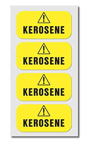 Kerosene Fuel Sticker Decals - Super-Strong Adhesive and Weather-Resistant - 4 Pack of 2 x 1 inch to Use with Cans, Heaters, and Lamps