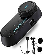 FreedConn Motorcycle Helmet Communication Systems T-COMVB Bluetooth Headset Intercom for Motorbike Skiing (FM Radio/Hand-Free/Waterproof/Intercom Range-800M/2-3 Riders Pairing/Black) (1 Pack)