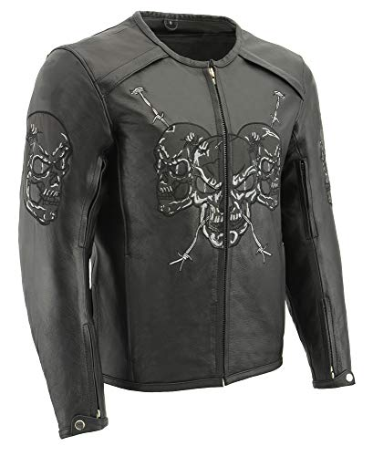 - M Boss Apparel BOS11500 Mens Black Armored Racing Jacket with Reflective Skull Design - Large