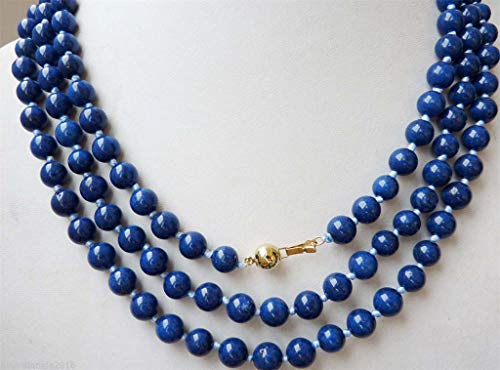 FidgetFidget Long 8mm Egyptian Lapis Lazuli Dark Blue Round Bead Gemstones Necklace 36''