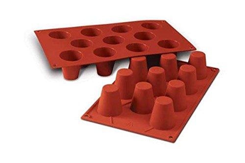 Terracotta Silikomart-Wonder Cakes SF020 100-Percent Platinum Silicone-Cake Mould-Baba-45-Millimeter