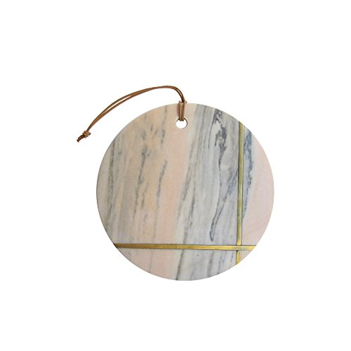 American Atelier Geometric Shaped Marble Cutting Boards/Serving Trays Use for Cheese Charcuterie Breads or as a Decorative Piece 105quot Pink Marble with Gold Accents Circle