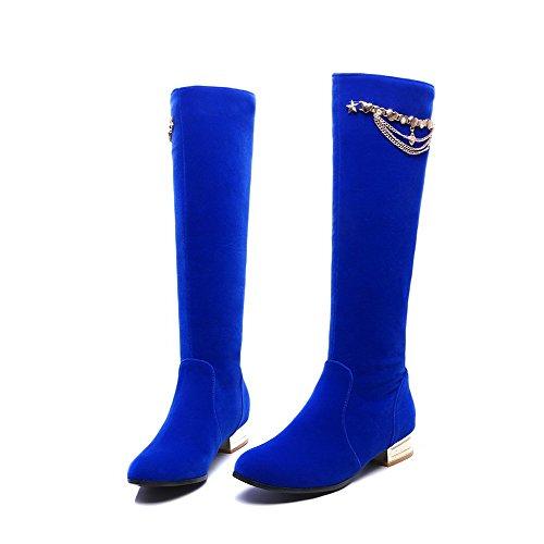 Sin Botas Cadenas Con Cordones Alta Agoolar Mujeres Caña Tacón Mini Azul Sólido 7gg6Iqp