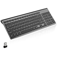 Wireless Keyboard, J JOYACCESS 2.4G Slim and Compact Wireless Keyboard for Computer,Laptop,Windows,PC,Desktop,Smart TV-Black and Grey
