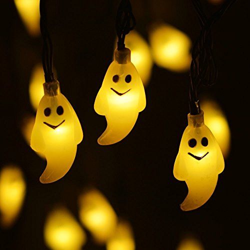 Hulorry Outdoor Decoration Lights,Solar String Lights Cute Ghost Metal Ornament Lights Waterproof Fairy Lights for Garden, Wedding, Party, Indoor, Outdoor and Christmas Tree,Warm White by Hulorry