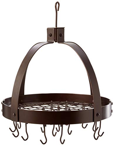 Old Dutch Dome Pot Rack with 16 Hooks, Oiled Bronze, 20